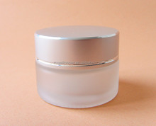 frosted glass cream glass jar with lid