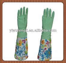 WJ23 blue long cuff househod latex gloves warm longer with cotton inside