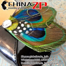 China ZP Crafts Factory wholesale handmade decorative Peacock Feather and Polka Dot Shoe Clips for bridal