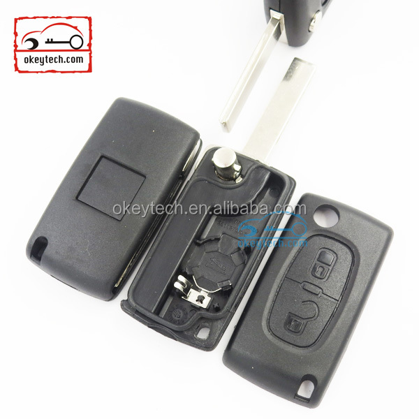 okeytech replacement 2 buttons flip remote key shell with battery holder for citroen c1 c2 c3 c4. Black Bedroom Furniture Sets. Home Design Ideas