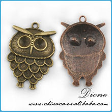 ~E Owl shape metal pendants embossed metal blank pendants laser cut metal pendant