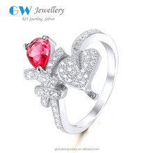 Alibaba Website Wholesale 925 Sterling Silver Red Coral Ruby Stone Diamond Latest Wedding Ring Designs