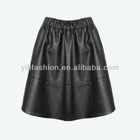 fashionable skirt, flared skirt, leather skirt with pockets