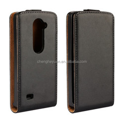 alibaba express plain PU genuine leather holster stand flip phone case cover for lg leon