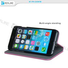 """good quality leather mobile phone cover case for iphone 6 4.7"""", folio standing case for iphone 6 viewing"""