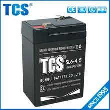 TCS hot sell 6v 4.5ah recharge maintenance free UPS battery