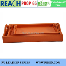 Hotsale PU Leather Serving Tray in sets 3