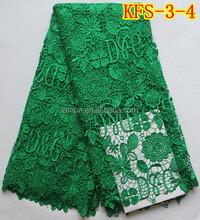 Kfs-3-4 energética verde brilhante água tecido de renda solúvel flor amostra