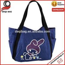 Denim carton cute logo Beach shoulder tote woman's Handbags