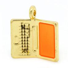 Charm Pendants Notebook Computer/Laptop Gold Tone Enamel Orange 17mmx16mm