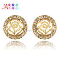 Have Spot, New Trendy 18K Gold Plated Jewelry Hollow out Engrave Flower Wholesale Round Stud Earrings For Women Party Wedding