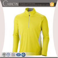 competitive price polyester breathable long sleeve zip collar dry fit t-shirt