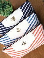 SC097 New Canvas Navy Marine Stripe Style Pencil Bag Zipper Pouch Bag Pen Box