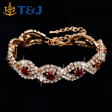 Fashion Jewelry Wedding Austrian Crystal Bracelets Three times Gold Silver Plated Bracelets Bangles For Women/