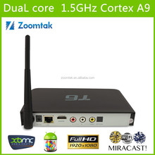 T6 Amlgoic 8726 MX Dual core android 4.2 tv box support webcam with skype