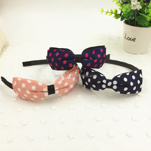 Z10486B Fashion Sweet Girl Headbands Dots Printed Fabric Hair Bands For My Princess Girls