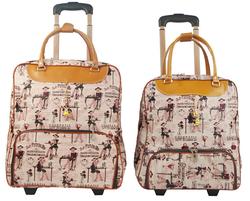 Fashion Ladies PU Trolley Bag Rolling Duffel Bag