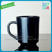 Exquisite glass cup Pure black round bottom coffee glassware with a handle glass coffee cup