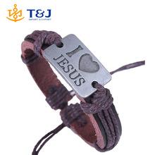 2015 I Love Jesus Genuine Leather Charm Bracelet Cuff Braided Wrap Bracelet & Bangles Fashion For Women Men Gifts>
