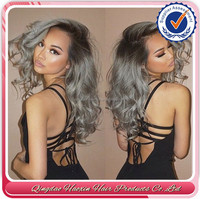 Free shiping Brazilian Human Ombre Human Lace Front Wig Black Grey Lace Front Wig Two Tone Gray Human Hair Wigs Full Lace Wig