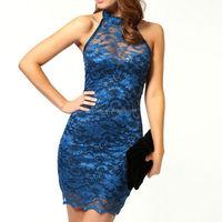 2015 Lady lace transparent dress fashion show