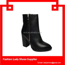 French newest ankle boots pu lady ankle boots fashion high heel short boots