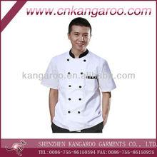 100% polyster Hotel white short sleeve work uniform/chef work wear