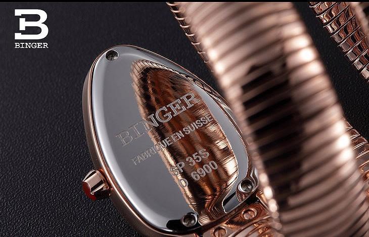 Горячая продажа Бингер мода Рубин часы красивые CZ ювелирные изделия с бриллиантами Золотой змея кристалл Стали ремешок женщин Горный Хрусталь кварцевые часы