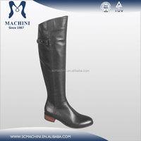 Fashional style knee high flat heel low heel boots handmade italian leather shoes brand