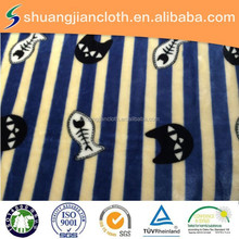 100% polyester fish and cat pattern cartoon flannel fabric