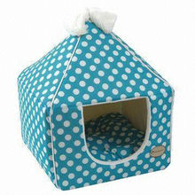 piont pattern plush pet bed house dog nest dog house