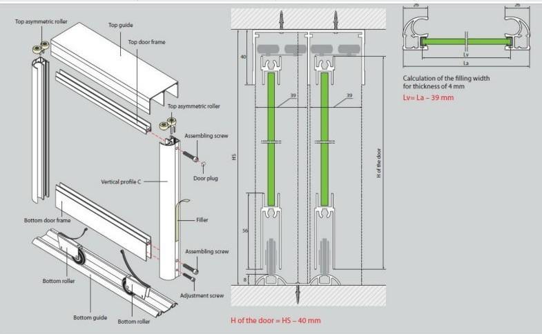 Perfiles para puertas correderas materiales de construcci n para la reparaci n - Perfiles de aluminio para armarios ...