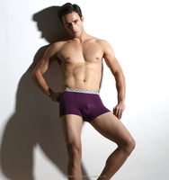 Purple short 100 polyester boxer shorts with printed band and inner printing