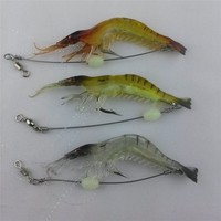 Hot selling!! 6g/9cm Fly Fishing Bait Luminous Shrimp Lure Prawn Octopus Lure