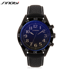 luxury new fashion men's Army military leather strap quartz sports watch