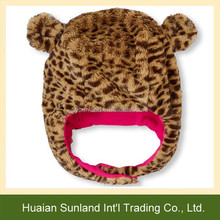 W-1089 New baby winter hats animal leopard pattern caps and hats baby kids children leopard fur earflap hat