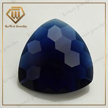 8*8mm Checkerboard face decorative glass gems dark fat triangle blue glass stone