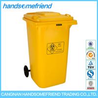 100 liters plastic medical trash can,medical garbage can medical trash can, yellow large medical waste trash can