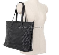 2015 Fashion Woven PU Leather Handbag genuine leather tote bag for ASIA