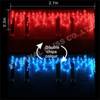 red and blue led curtain lights of christmas decoration