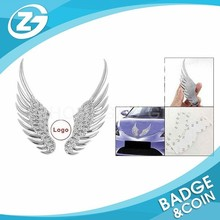 2 Pcs Silver Tone Angel Wings Style Badge Sticker For Auto Car