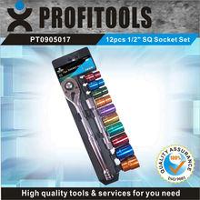 "12pcs 1/2"" CRV colour coded SQ auto repair tool box set"