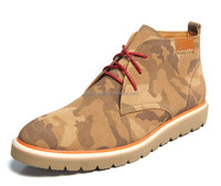 5644 men camouflage mid-cut leather shoes casual shoes with fur lining