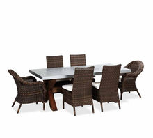 Luxury design outdoor patio zinc top 6 seater chairs eucalyptus wood dining table set