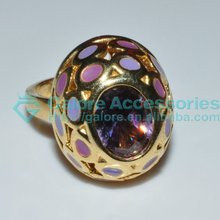 fashion gold large stone rings settings yellow gold only