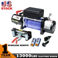 13000LBS REMOTE CONTROL Synthetic Electric WINCH 12V Wire Cable 4x4 4WD Boat Truck 13000LBS