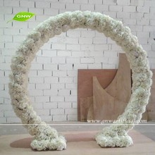 GNW 7ft White Artifical Wedding Arch in Silk Rose and Hydrangea Flowers Garland for wedding decoration