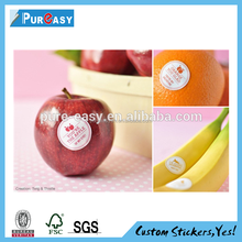 Green healthy custom vinyl label sticker for fresh fruits