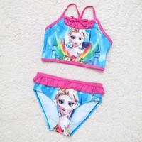 Swim Suit 2015 Girls Swimsuit Frozen Kids Modeling Triangle Swimsuit