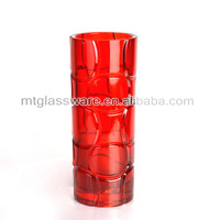 red color tall cylinder lead crystal vase